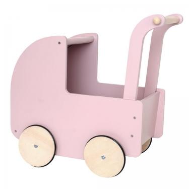 Drewniany wózek dla lalek pastelowo różowy, Jabadabado