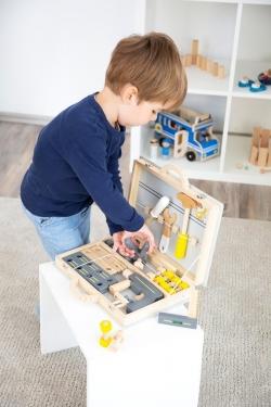 Drewniana walizka z narzędziami szara Miniwob Small Foot Design