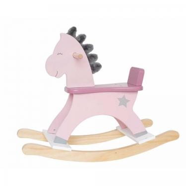 Koń na biegunach pastelowy róż JABADABADO