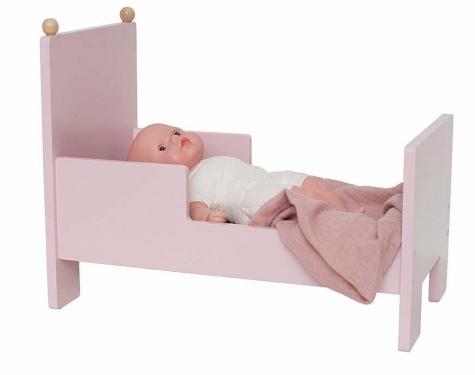 Drewniane różowe łóżeczko dla lalek Jabadabado