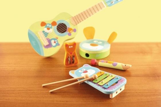Gitara drewniana pastelowe zwierzaki Sevi
