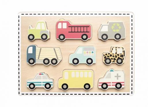 Drewniane puzzle pojazdy JABADABADO