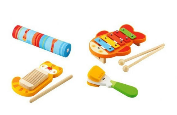 Kolorowy, drewniany zestaw rytmiczny, cztery instrumenty