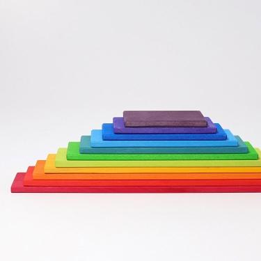 Kolorowe płyty drewniane do budowania 0+ tęczowe Grimm's