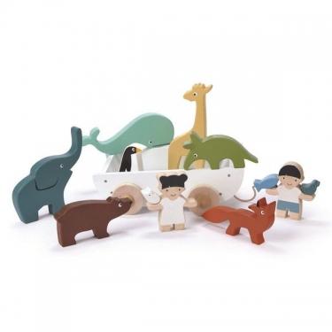 Drewniany statek do ciągnięcia ze zwierzątkami, Tender Leaf Toys