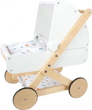 Drewniany biały wózek dla lalek Little Button Small Foot